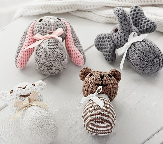 Knit Plush Animal Rattles | Pottery Barn Kids