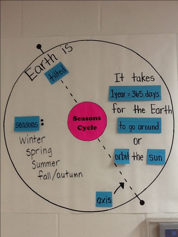 Seasons interactive word wall (circle map). Review of TEK 4.8C.