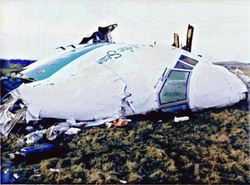 Pan Am Flight 103 - destroyed by a bomb over Lockerbie, Scotland, 243 passengers and 16 crew members were murdered and 11 people on the ground were killed