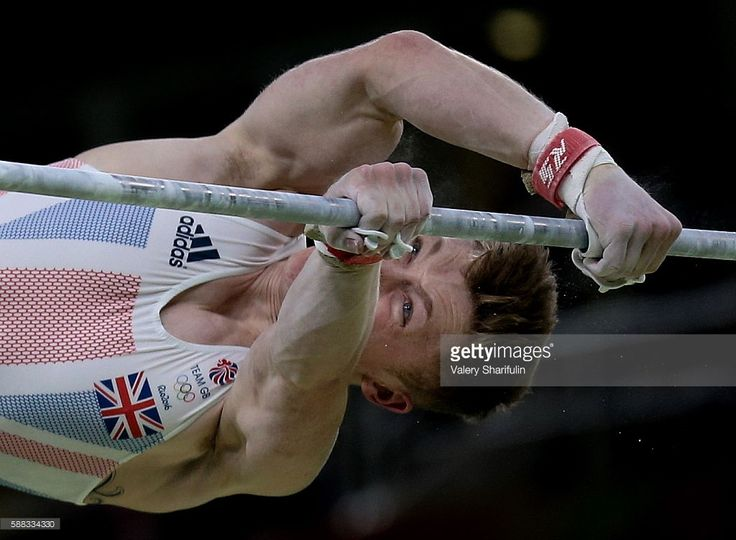 Nile Wilson of the United Kingdom performs his horizontal bar routine during the artistic gymnastics men's individual all-around final at the Rio 2016 Summer Olympic Games, at the Rio Olympic Arena. Valery Sharifulin/TASS (Photo by Valery Sharifulin\TASS via Getty Images)