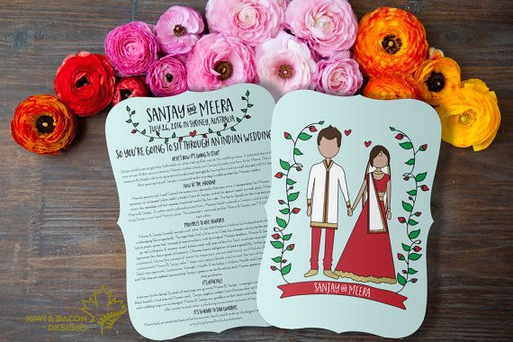Indian Wedding Program: Boho Indian (Printable) -- Hindu Wedding Muslim Nikah…