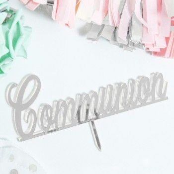 'Communion' Mirror Silver Cake Topper Cake Toppers