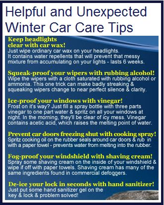 Car lock frozen? Hand sanitizer can fix it!  The weather outside is frightful! Some helpful & unexpected winter car care tips if you find yourself in a bind.