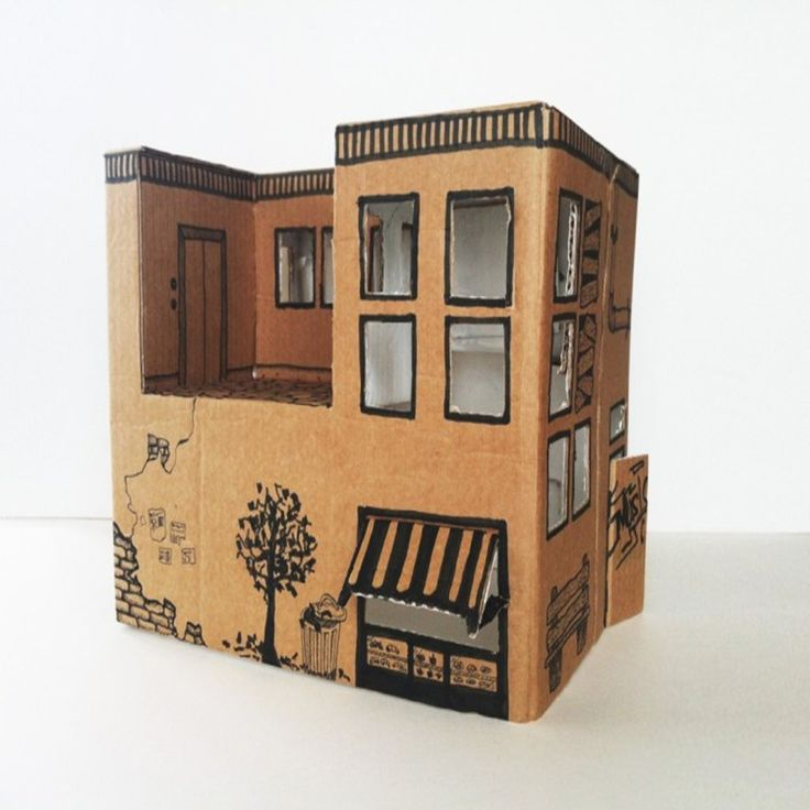cardboard doll houses to make | We need: a cardboard box (if the box without lid, then + a small piece ...