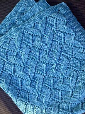 Padrão de tricô livre para Sand Dunes Baby Blanket em ponto de musgo e diamante hea ...