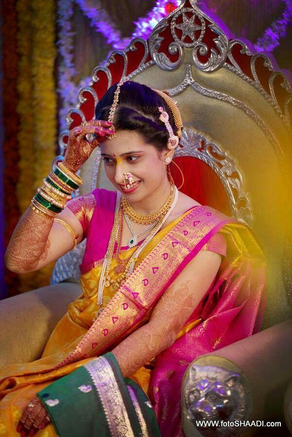 Marathi Bride in Pink and Yellow Silk Saree