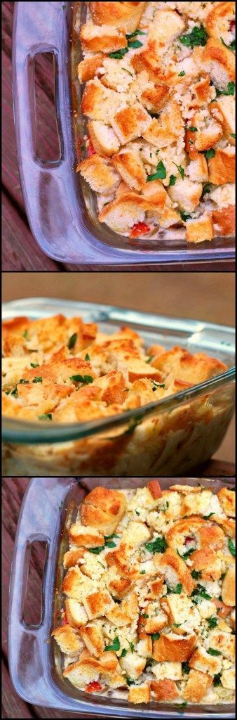 This Chicken Cobbler Casserole really has an amazing flavor that is just indescribable.  The chicken/buttermilk/roasted red pepper mixture is unlike any other casserole I have ever eaten.  And the homemade buttery/Parmesan/bread topping just puts it over the top.  A family favorite for sure!