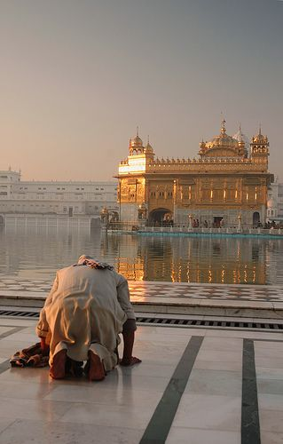 A devotee paying obeisance at the Darbar Sahib (Harmandir Sahib or Golden Temple) Amritsar, Punjab, India.