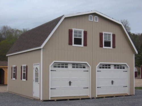 Amish 24x24 double wide garage gambrel roof structure for Gambrel barn prices
