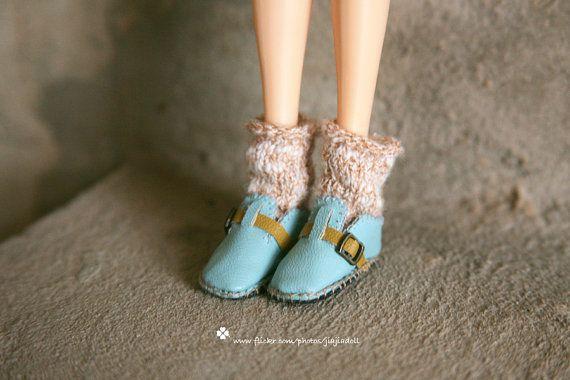 jiajiadoll Handmade sky blue leather shoes fits por jiajiadoll, $19.00