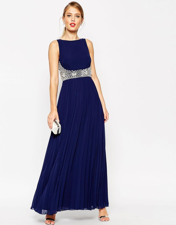 ASOS+3D+Embellished+Waist+Pleated+Skirt+Maxi+Dress