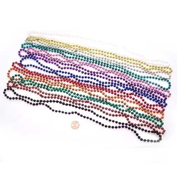 Carnival Savers - Metallic Bead Necklaces (96 total necklaces in 2 bags) 14¢  each, $13.75 (http://www.carnivalsavers.com/catalog/item/1877094/4769645.htm)