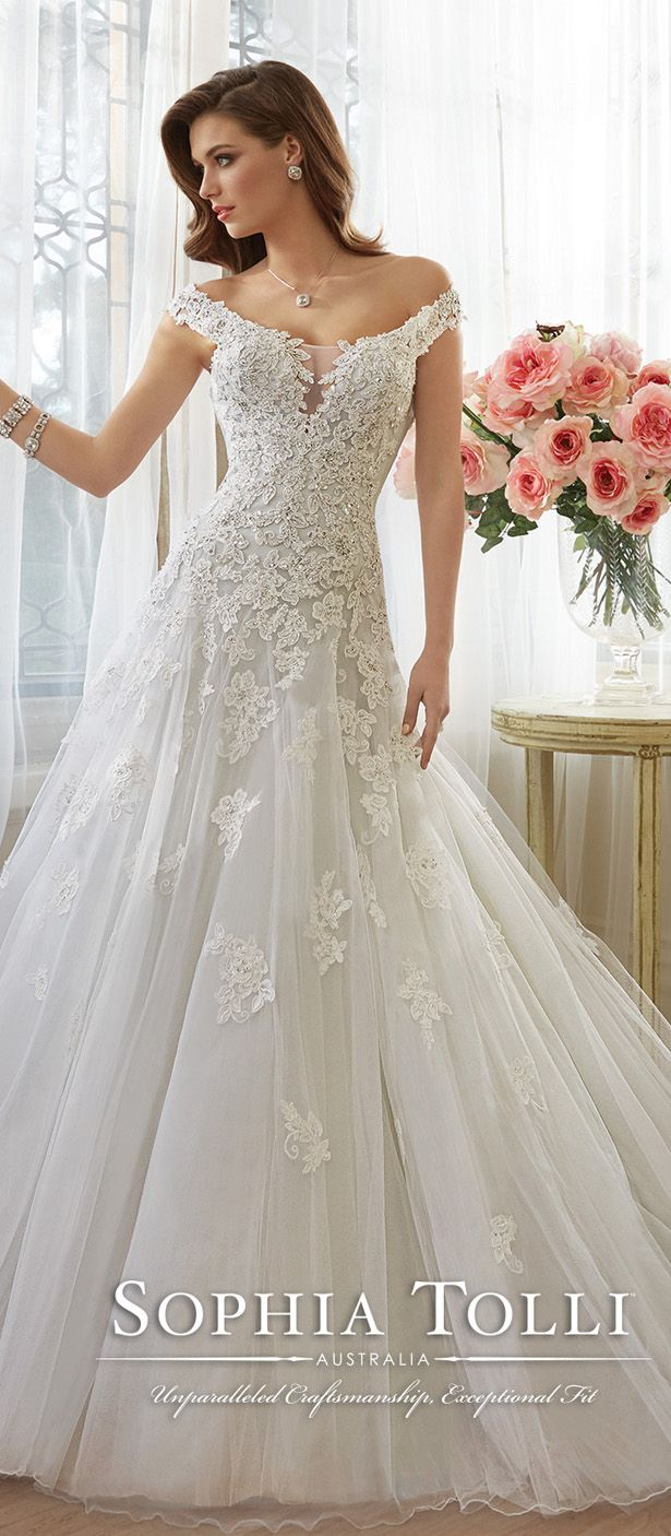 sophia tolli misty gray off the shoulder bridal gown spring 2016 Y11635