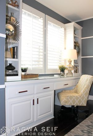 A Cozy Home Office: White built-in desk with Gramercy Desk Chair from Ballard Designs.