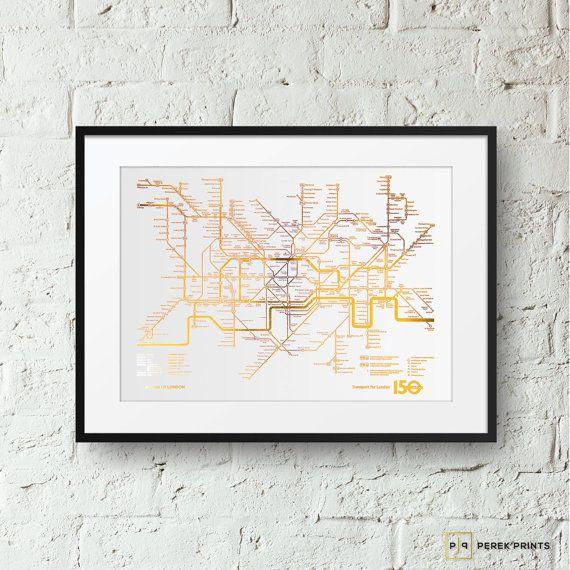 Blattgold Print - London U-Bahnnetz - Gold Illustration für Print, Gold, Gold Prints von Perek Drucke - GP249
