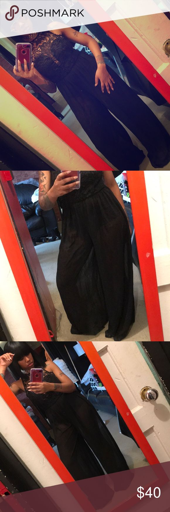 Small all black pants jumpsuit Worn once bottom need to be ironed great condition all black any occasion no rips in it size small Pants Jumpsuits & Rompers