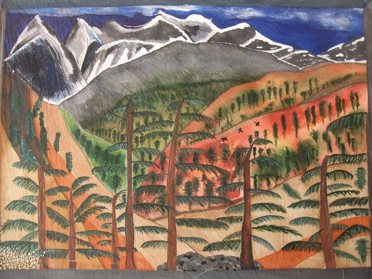 Himalayan View, painted on cotton by Michael Latham