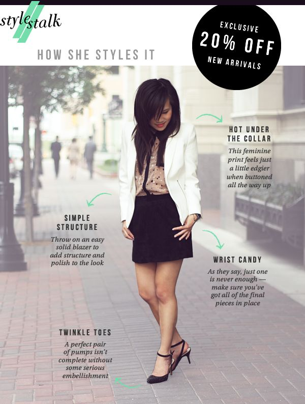 Sample newsletter from style stalk, like the image and then the shop key pieces