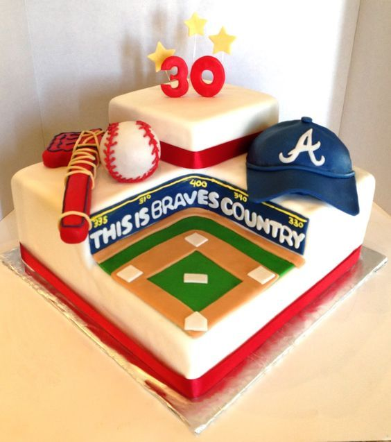 baseball cake pics | atlanta braves baseball stadium cake the hat is made of cake and the ...