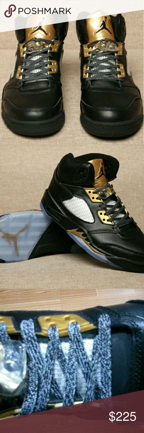 JORDAN RETRO 5 OLYMPIC BLACK / GOLD 10M NEW JORDAN RETRO 5 OLYMPIC CUSTOM SNEAKERS Nike Shoes Sneakers