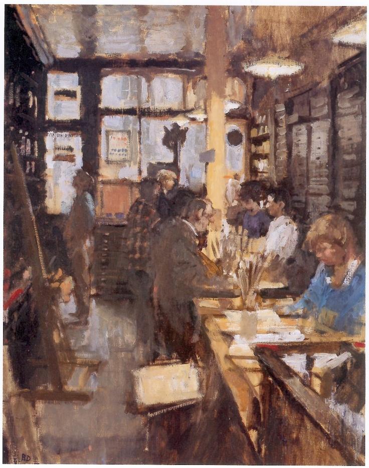 Cornelissen's art supplies shop London oil on board 1987, Bernard Dunstan