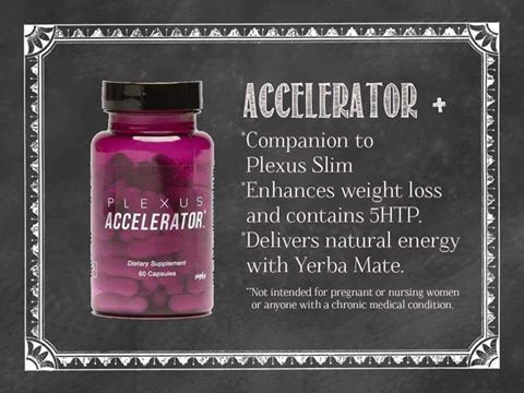 Best for boosting metabolism, appetite suppression, and natural sustained energy!! This product also contains a mood enhancer. When taken with Plexus Slim, in conjunction with diet and exercise, Accelerator+ helps you manage your weight. Accelerator+ contains a number of active ingredients such as Higenamine (a plant-based compound), which has been shown in clinical studies to help boost the body's metabolic rate, and burn fat more efficiently.