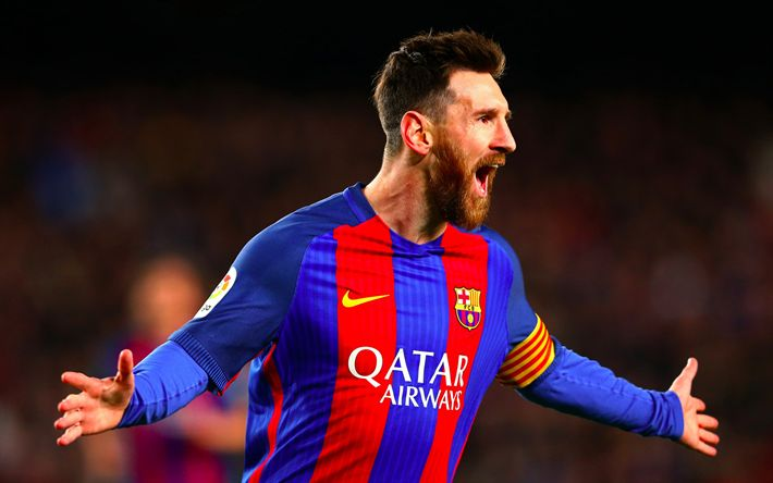 Download wallpapers Messi, joy, goal, Barcelona, La Liga, Spain, Barca, Lionel Messi, football stars, Leo Messi