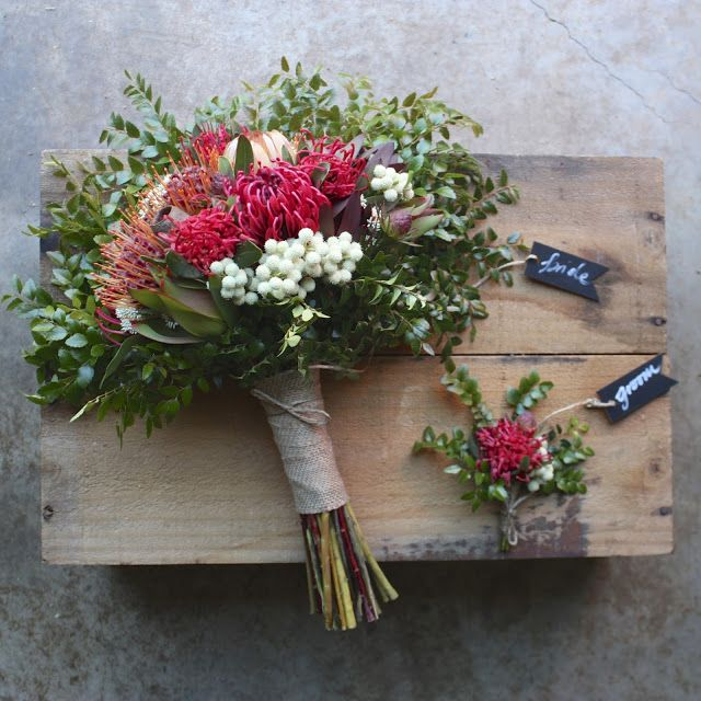 Swallows Nest Farm  Waratah, Berzelia, Myrtle Beech, Gumnuts, Waratah Bouquet