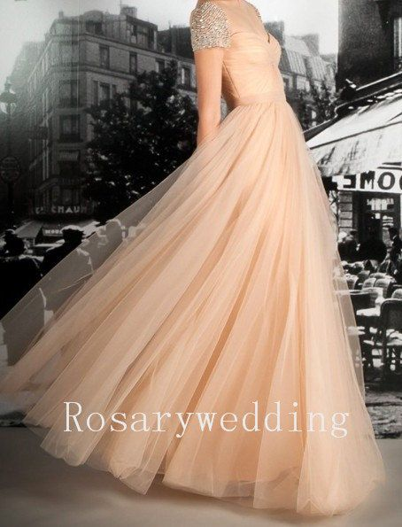 Cap sleeves champagne tulle prom dress by Rosaryweddingdress, $218.00