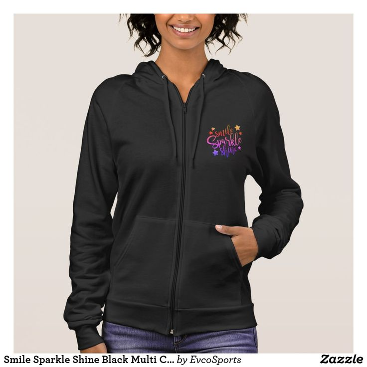 Smile Sparkle Shine Black Multi Coloured Quote