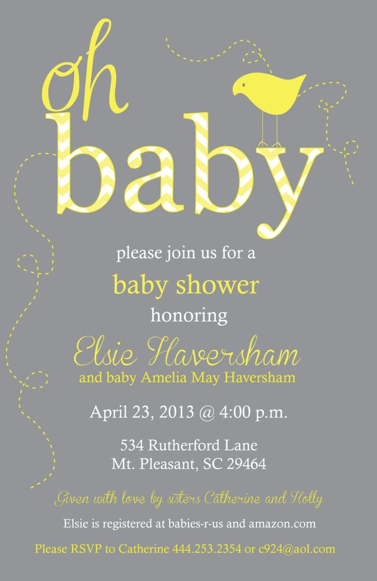 Yellow and Gray Baby Shower Chevron Invitation - Print ...