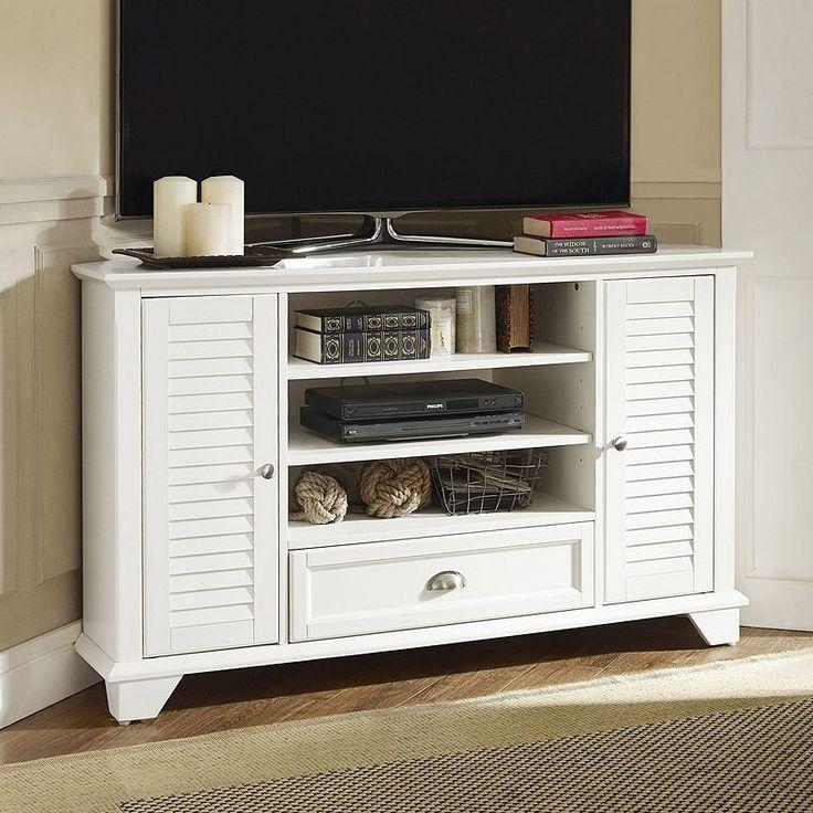 white corner tv stand. crosley furniture palmetto 50-inch corner tv stand white tv