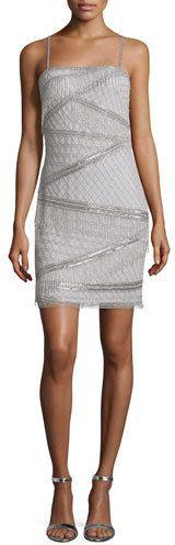 Aidan Mattox Sleeveless Beaded Cocktail Dress, Silver #silver #cocktail #dress #gatsby