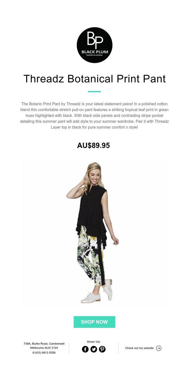 Threadz Botanical Print Pant #summer #pants #ootd #fashion #melbournefashion