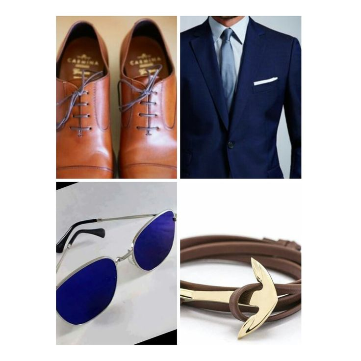 Brown shoes with deep navy blue (mild gloss) suit. Blue AO sunglass and ⚓ brown  wristband will make you more sexy!   Ideas from the globe. My collection.