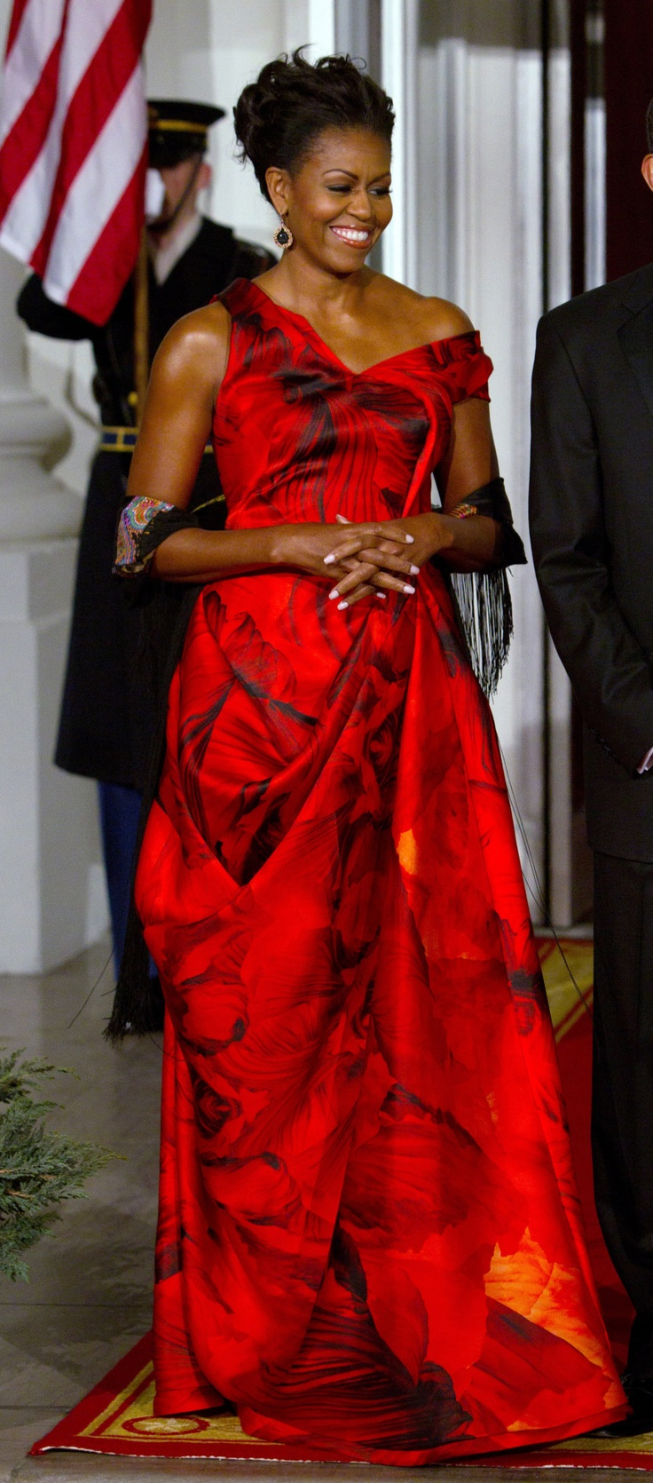 Image detail for -First lady Michelle Obama waits to greet Chinese President Hu Jintao before a state dinner at the White House in Washington.