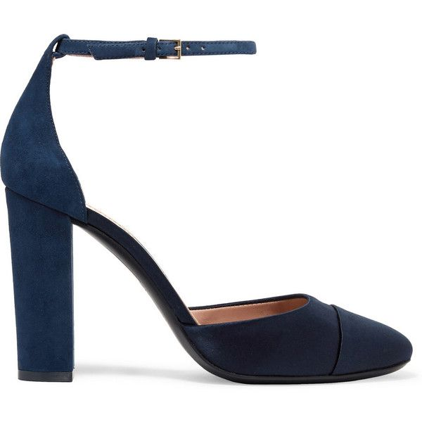 Tory Burch Rousseau suede and satin pumps (1 195 SEK) ❤ liked on Polyvore featuring shoes, pumps, heels, navy, navy blue suede pumps, mary jane shoes, ankle strap shoes, navy pumps and block heel shoes