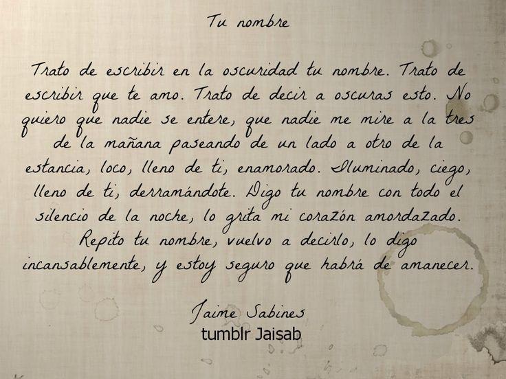 Tu nombre, Jaime Sabines.