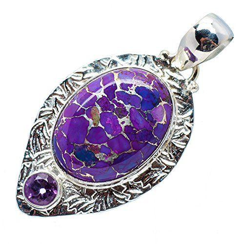 """Ana Silver Co Purple Copper Composite Turquoise, Amethyst Silver Pendant 1 3/4"""" Ana Silver Co. http://www.amazon.com/dp/B00NU21JSM/ref=cm_sw_r_pi_dp_nFG1ub0V98ZXH"""