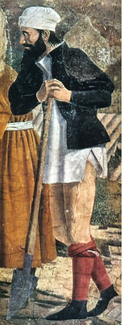 """The Story of the True Cross, detail"" by Piero della Francesca Italian c. 1455 15th century A workingman in unlaced hose rolled to the knees. Wearing undergarment, a chemise."