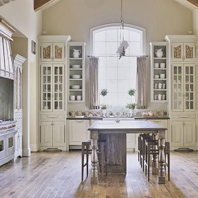 Built-in hutch idea with glass doors and open cabinets on the side. Floor finish is beautiful!: Interior Design, White Kitchen, Cabinet, Kitchen Design, Dreamkitchen, House, Kitchen Ideas, French Country Kitchens, Dream Kitchens