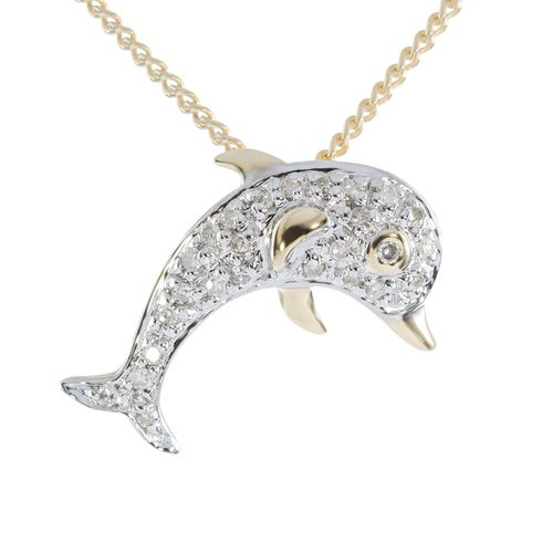9ct Gold Diamond Dolphin Pendant only $126 - purejewels.com.au
