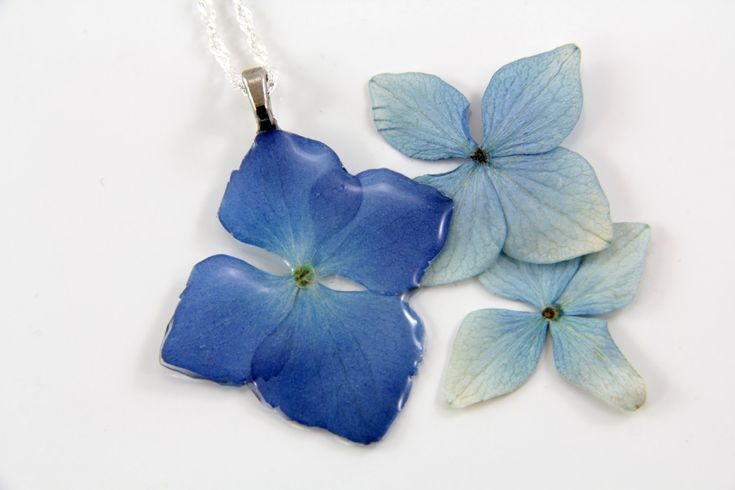 Real Flower and Resin Necklace, Dainty Necklace,  Real Flower Necklace, Hydrangea Necklace, Pressed Flower Jewelry, Botanical Necklace by JasmineThyme on Etsy