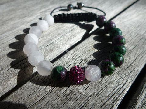 Yin Yang Ruby Zoisite and Matte Rose Quartz Shamballa Bracelet