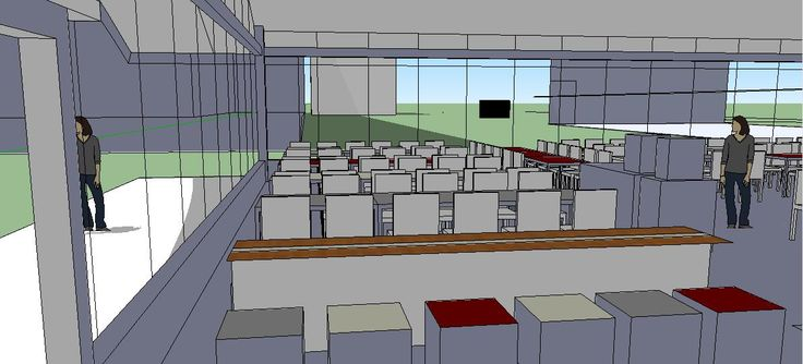Vista virtual do refeitório de uma cozinha industrial
