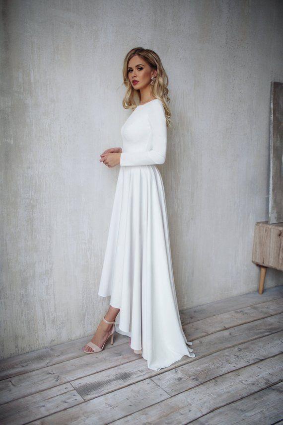 Einfache Hochzeit Kleid Dalarna, High-Low Rock Brautkleid, minimalistischen Kleid