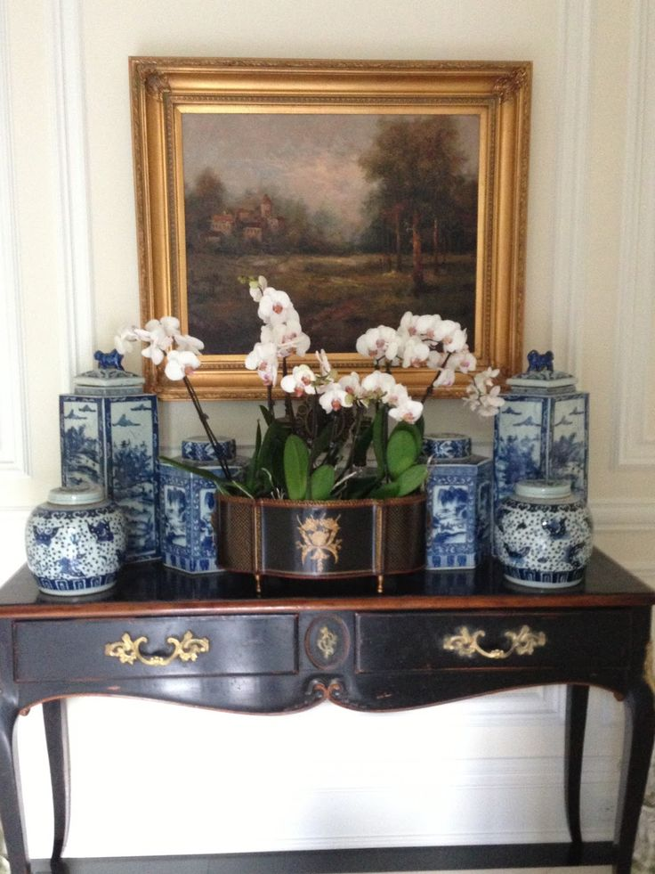 Orchids with blue and white... Classic