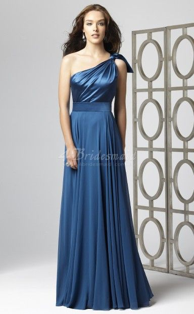 Royal Blue Chiffon ,Charmeuse A-line One Shoulder Floor-length Bridesmaid Dresses(BD708)