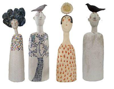 Love these Jane Muir ceramic 'people' junkgarden: decorating