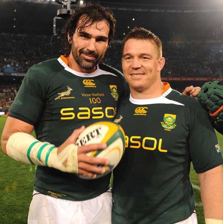 Springbok centurions Victor Matfield and John Smit
